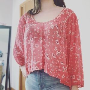 Free People   Red Floral Popover Blouse   Sz S